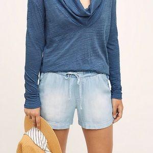 Anthro Cloth & Stone | Chambray Drawstring Shorts
